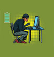 african hacker thief hacking into a computer vector image vector image