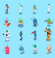 aliens isometric icons set vector image vector image