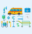 ambulance medicine health emergency car vector image