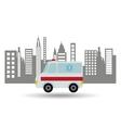 ambulance vehicle city background design vector image