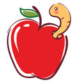 apple worm going out from fruit basic rgb on vector image vector image