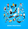 bionic prothesis isometric composition vector image vector image