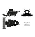 black silhouette combine harvester vector image