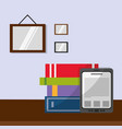 books and tablet over table design vector image vector image