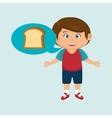boy cartoon bread slice vector image