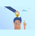 business man hand put light bulb in head new idea vector image
