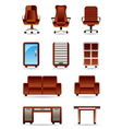 Business office furniture icon set vector image vector image