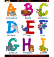 cartoon english alphabet with animals vector image vector image