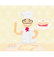 chef preparing a cake vector image