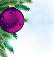 Christmas decoration on blue sparkling background vector image