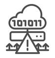 cloud cyber attack line icon ddos server hack vector image vector image