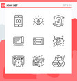 collection 9 icons in line style modern vector image vector image