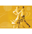 Dancing couple yellow background vector image vector image