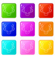 deer antler icons set 9 color collection vector image vector image