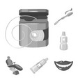dental care monochrome icons in set collection for vector image vector image