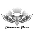 diamond with wings engraving vector image vector image