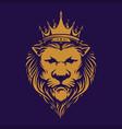elegant lion king royal logo company vector image vector image