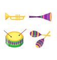 equipment collection for mardi gras celebration vector image vector image