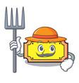 farmer ticket character cartoon style vector image vector image