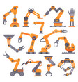 flat manufacture robotic arm automatic robot arms vector image