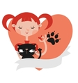Girl with her cat template vector image