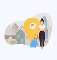 girl with travel bag get a taxi travel and vector image vector image
