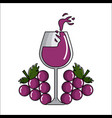 glass splashing wine with grapes icon vector image vector image