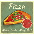 Grunge Card with Pizza vector image vector image