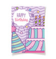 happy birthday cake candles and hat decoration vector image
