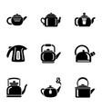 hot teapot icons set simple style vector image