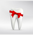 human tooth with red ribbon vector image vector image