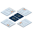 isometric blank open passport template vector image vector image