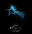 merry christmas blue glitter star greeting card vector image vector image