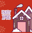 merry christmas celebration gingerbread house with vector image vector image
