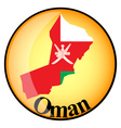 orange button with the image maps of Oman vector image vector image