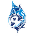 ornate stingray fish in tattoo style vector image vector image