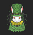rabbit easter st patricks day vector image vector image