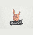 realistic hand rock and roll hand sign rock human vector image vector image
