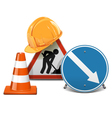 Road Signs with Helmet and Cone vector image vector image