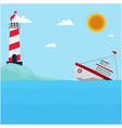sea lighthouse ship cloud sun blue background vect vector image