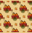 seamless pattern with pumpkin cart and leaves vector image vector image