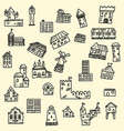 set doodle houses vector image