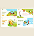 set web page design templates for organic food vector image vector image