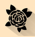 simple flat black rose hand drawn romance flower vector image
