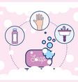 soap hand washbasin and shampoo bathroom vector image vector image