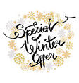 special winter offer in frame made of snowflakes vector image vector image