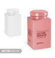 square glossy ceramic jar mockup realistic vector image vector image