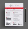 stylish cv resume design template red template vector image vector image