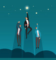 successful winning business team flying to stars vector image vector image