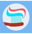 Toothbrush with Toothpaste Icon Flat Design vector image